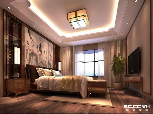 卧室在背景墙运用中国古典水墨画风格,搭配镂空木雕装饰两侧,韵味十足