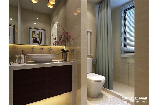 卫生间装饰图,墙面瓷砖用暖色的石材质感瓷砖,简单大方。