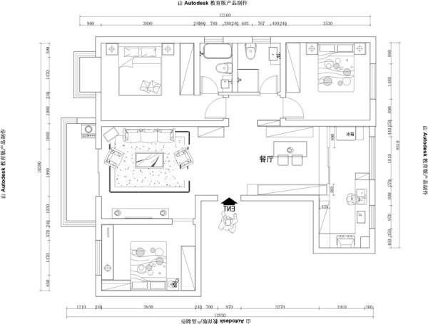 天伦庄园126平美式案例-君子兰装饰 户型图