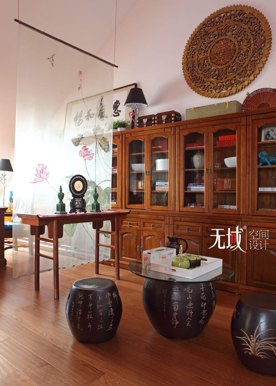 别墅 复式 中式 书房图片来自无域空间设计刘艺在名佳花园中式风格设计案例的分享