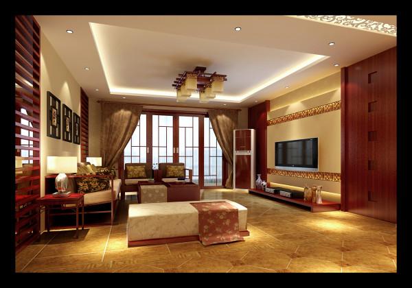 生活家装饰--石门东路小区180平米新中式风格客厅装修效果图