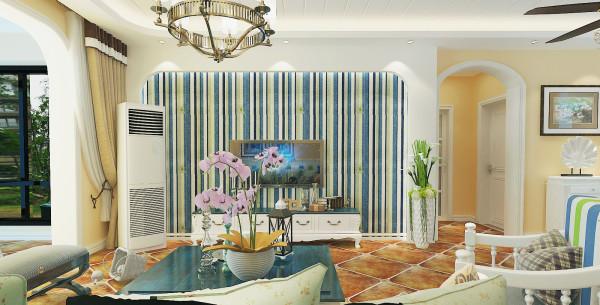 锦棠120平美式风格设计-君子兰装饰 美式背景墙