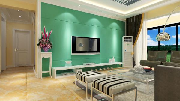 如意花园140平现代简约设计-君子兰装饰 电视背景墙