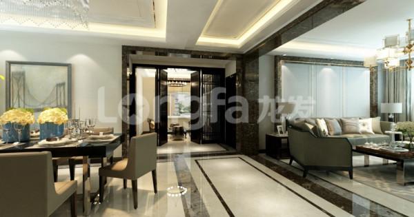 客厅走廊铺地,吊顶都体现现代简约风格