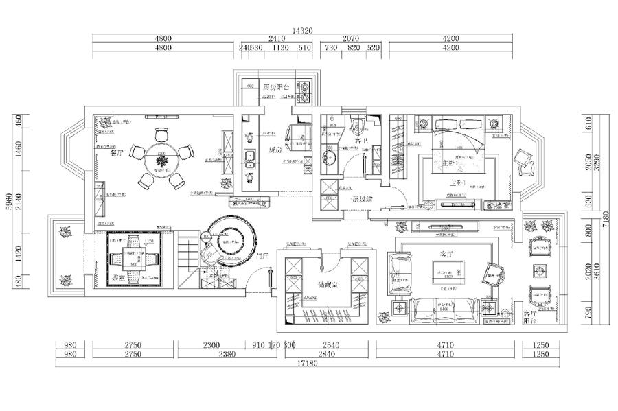 别墅 复式 中式 古典 户型图图片来自无域空间设计刘艺在名佳花园中式风格设计案例的分享