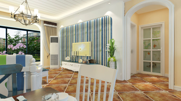 锦棠120平美式风格设计-君子兰装饰 美式电视背景墙