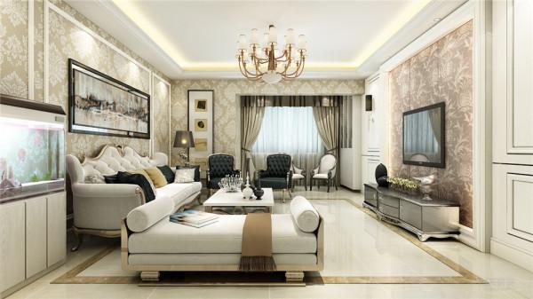 欧式客厅非常需要用家具和软装饰来营造整体效果。本案客厅采用色彩鲜艳的布艺沙发,有着丝绒的质感以及流畅的曲线,与一幅色彩鲜艳的油画相呼应,将传统欧式家居的奢华与现代家居的实用性完美的结合。