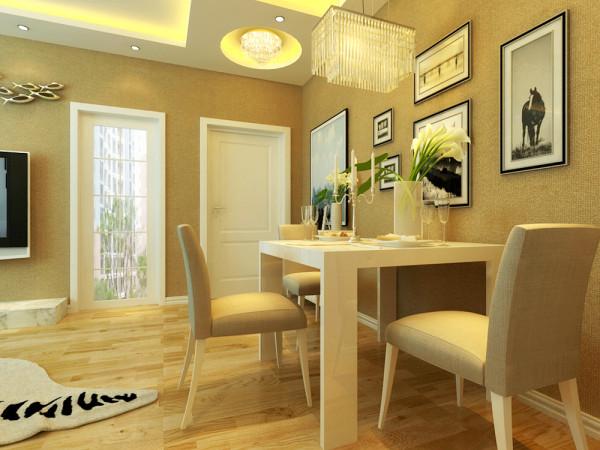 本案中餐厅和客厅在一个大空间里,设计师用直线棚面与餐厅和过廊曲线造型棚面连接在一起巧妙的手法,将两个空间分隔开.餐厅为客厅区的一侧,即独立,在整体空间上又能起到区域化分的效果,客户非常认同而且非常喜欢。