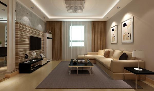 客厅以中性色为主题的简约韩式,房间整体地面用的中性色地板跟墙面乳胶漆的结合,显得空间比较温馨,但是没有划分区域的功能,要从顶面吊顶划分区域,通过吊顶的色和灯带的搭配会既能划分区域又有整体性。