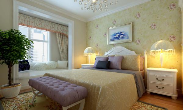 卧室设计以浪漫为主,简欧的白色家具,床头以淡紫色印花壁纸为背景,阳台做成休闲的地台,不但增加了储物空间,而且配以羊毛地毯和温馨靠枕点缀少女的浪漫空间,充分渲染了公主房的高贵与浪漫.....