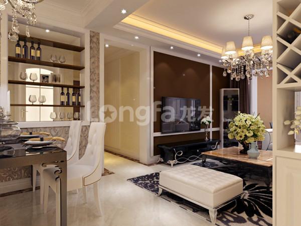 客厅:电视墙那面因为走廊影响考虑电视居中设计造型,加些独具现代欧式风格的家具,更突显整个房屋的欧式风格特点。