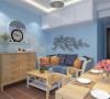 电视背景墙靠窗。沙发上方定制一排吊柜。客厅主色调为天蓝色。客厅至入户到过道通铺复古砖。