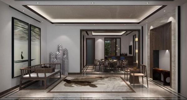 负一层休闲室:一叶孤舟,几个石柱将中国画将国粹中的精华绽放在空间每个角落。。
