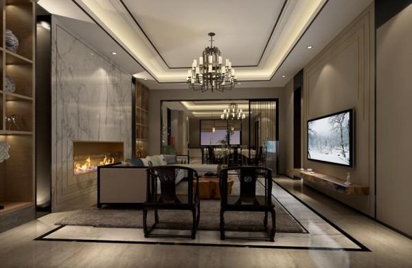 客厅:具有民族特色的圈椅以及典雅之美的茶海装饰在现代元素里碰撞出迷人的东方魅力。