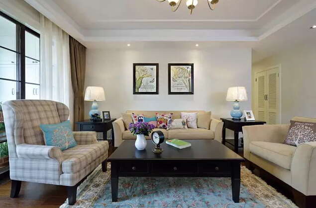 美式 简约 客厅图片来自成都丰立装饰工程公司在130平米美式简约风的分享