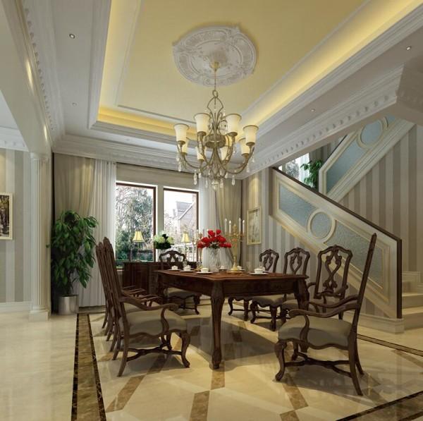 美式风格餐厅带有矩形图案的地砖,强调出餐厅空间的所属范围。