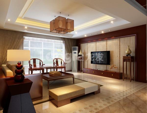 客厅:客厅电视墙采用木色镶板与石材相结合,配以回字纹小角花,删繁去奢既有中式的稳重大气又不会觉得有压抑感