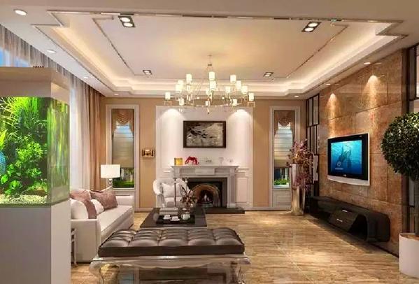 经过后期沟通调整,客厅的终稿如下图。现代中略带奢华,给人以高贵优雅的感觉。