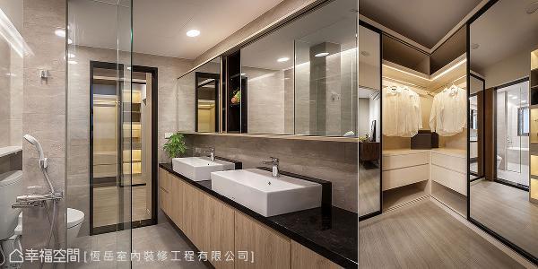主卫规划两座洗手台分别为男女主人专用,并与更衣室空间紧密相连,带来流畅的生活动线。