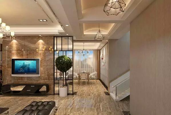 走廊通过吊顶的设计与客厅区域划分出来,让空间独立分明。