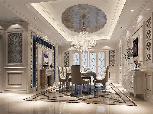 桌上方的水晶吊灯与客厅中的精致吊灯遥相呼应,让整个空间之中都映射出一种浪漫氛围。