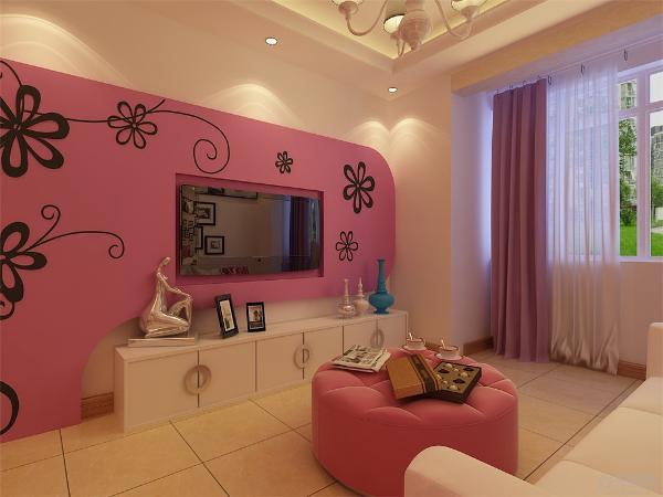 客厅采用回字形吊顶,稳重而且温馨浪漫,紫红色的电视背景墙增添了浪漫气息。