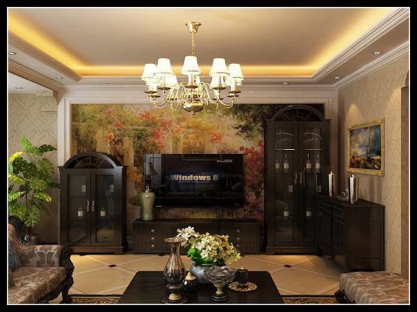欧式风格强调以华丽的装饰、浓烈的色彩、精美的造型达到雍容华贵的装饰效果。欧式客厅顶部使用大型吊灯来营造气氛。