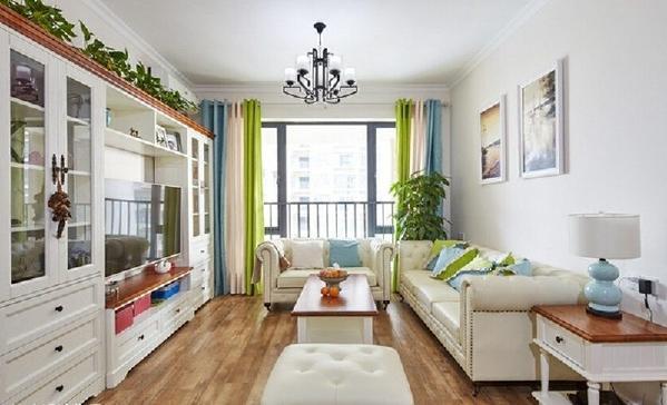 """""""筝柱春风吹晓月,芳树落花朝暝歇。""""看到这客厅一抹春晓绿,一片夏至蓝~"""