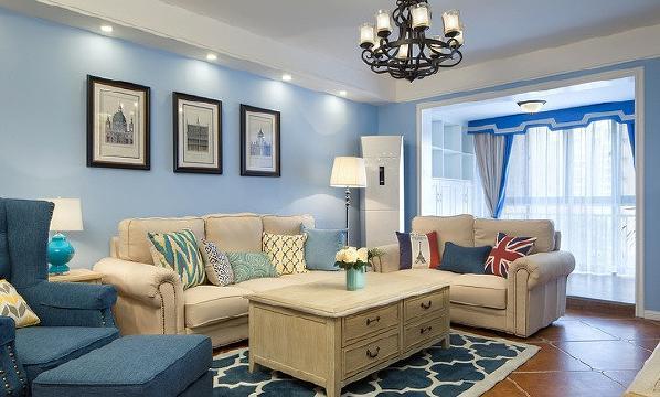 整体采用蓝色作为主基调,加上风化质感的家具,打造出放松空间。