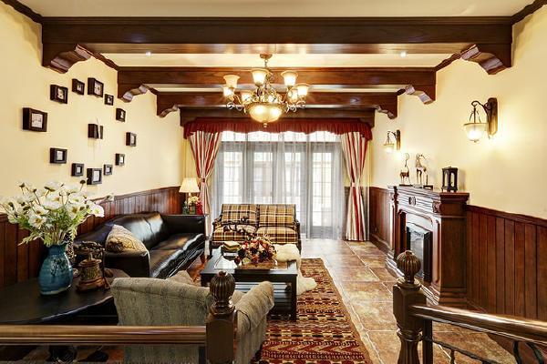 别墅装修美式风格完工案例实景展示,上海腾龙别墅设计