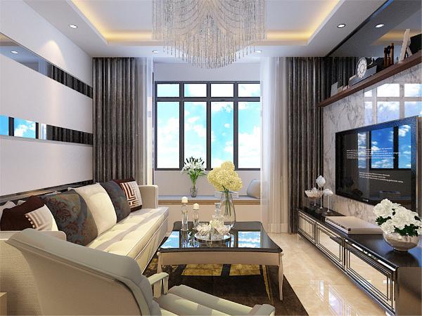 客厅沙发背景墙采用白色烤漆与灰境相结合,深黄色地砖,黄色系沙发,大理石的电视背景墙,整体空间色彩鲜明,搭配合理,抱枕色彩鲜明,给整个空间产生了不一样的色彩,靠窗位置有个是定制柜子。
