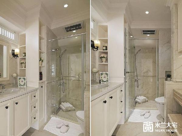 结合梳妆台、盥洗、淋浴与泡澡机能的三进式卫浴,是女主人最喜爱的独处空间