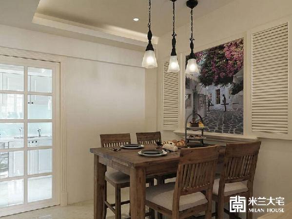 造型木百叶窗中间输出屋主旅游世界的风景记忆,可随时变换用餐时的异国情调。