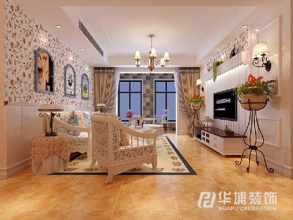 惯用了风格里面的特点 上墙碎花壁纸 下墙白色墙板 和客厅的正面起到呼应的效果,没有过多华丽的造型 后期加以软装挂画作为点睛。