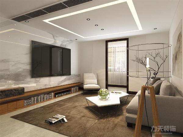 客厅电视背景墙采用了石材整块装饰,增加了空间对比性,增加光线感,使空间严肃整洁,其他墙面通刷卡其色乳胶漆。