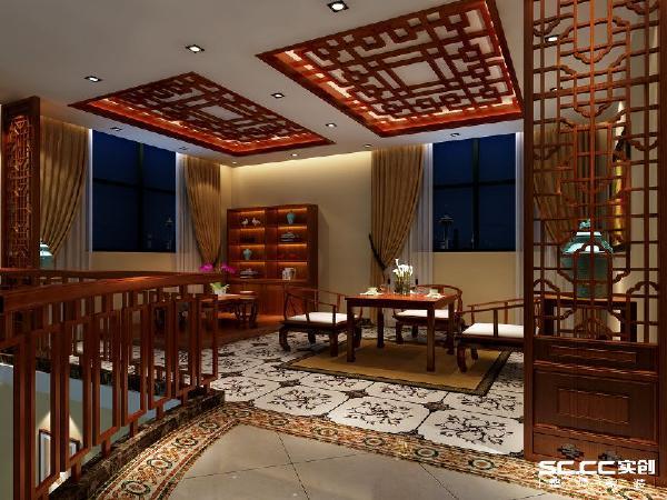 会客厅安排在2楼的一角,幽静。家具以黑、红为主的装饰色彩为主。造型简朴优美,格调高雅,色彩浓重而成熟。
