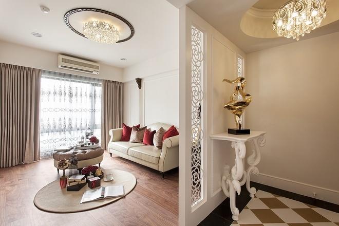 新古典 简约 白色 时尚 装修 客厅图片来自北京合建高东雪在90平新古典时尚公寓的分享