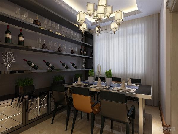 餐厅没有做过多的造型,简单的桌椅,干净的配色使得餐厅和客厅相呼应又不重复,餐桌用了六人桌,旁边放置了酒柜。厨房与餐厅之间用推拉门隔离开,可以防止油烟飘到客餐厅里。