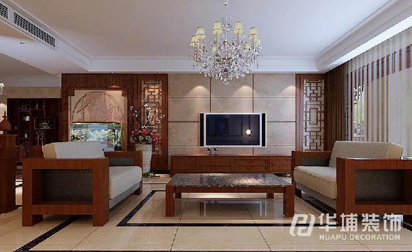 客厅侧面整体选用双层窗帘处理,外层选用纱质窗帘,有很好的透光性和一定的防尘作用,内层 选用厚重的布艺窗帘,具有很好的遮光性。
