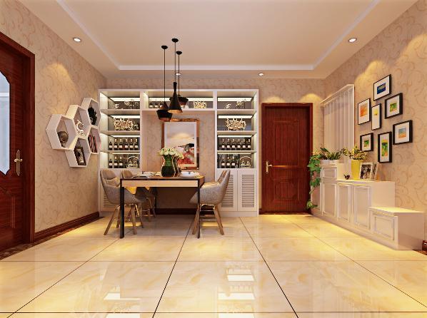 餐厅是家居生活的心脏,不仅要美观,更重要的实用性,整体性。灯光以温馨和暖的黄色为基调,顶部做了简单的吊顶。在餐桌的墙面上做了几个格子,既美观又可以摆放一些饰品,可以增加以下餐厅的情调。