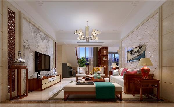 客厅,通过造型和软装来装饰,凸显中式的特色