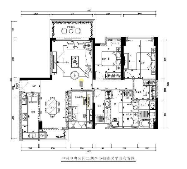 中洲中央公园二期四居室150平户型图