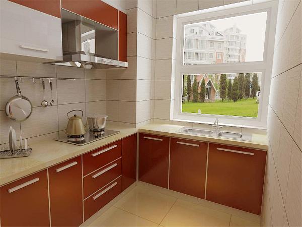 橱柜采用了烤漆的橱柜,颜色鲜艳。彰显了婚房的喜庆气氛。