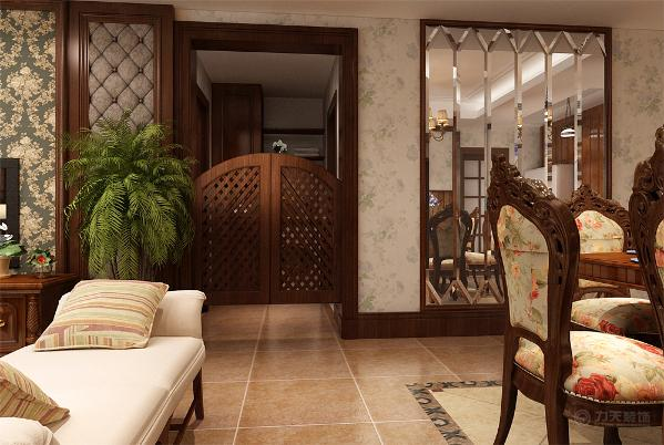 在入户右手边做的是一个木线加镜子的装饰,餐厅背景分成两部分,上半部分与墙面一样都是壁纸,下部分是仿古木板做的装饰,在家具的选用上,沙发采用的是木线加红色皮质的材质,餐厅是木质边框加布艺的餐椅。