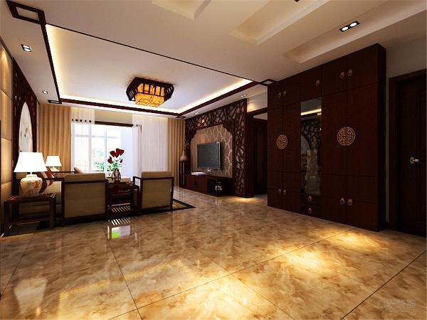 客厅采用回型灯池吊顶再搭配中式油纸顶灯,整体古韵十足。