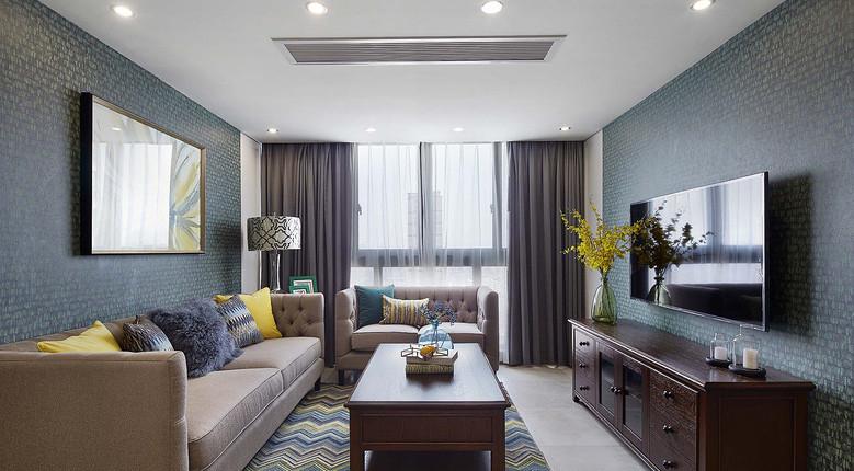 客厅图片来自家装大管家在清新舒适生活 125平美式雅致3居的分享