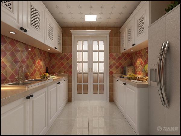 厨房旁边是次卧,走角线,简洁大方,相互呼应浑然一体,卧室的家具我也是靠墙放置的增加空间,地板我用的是木质地板。我采用角线圆顶,家具依然靠墙放增加活动空间。