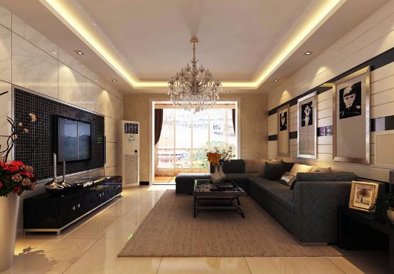 客厅有内部空间开敞、通透、玻璃、石材和一些木材等不同的材质融合一体,营造出一个温和、景观的环境,随着它的规则造型,顶板在两边顺其自然滑落,在灯光的点缀下,发射四方,流露出浓郁的浪漫气息。