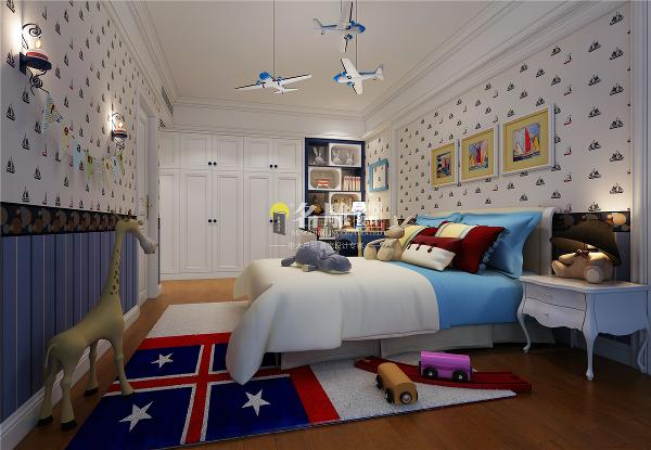 香山美墅美式风格别墅装修设计卧室装修效果图