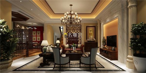 香山美墅美式风格别墅装修设计会客厅装修效果图